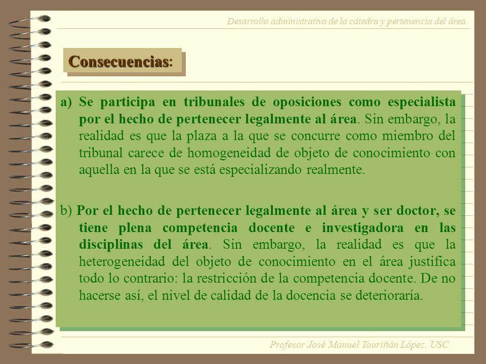 a)Se participa en tribunales de oposiciones como especialista por el hecho de pertenecer legalmente al área.