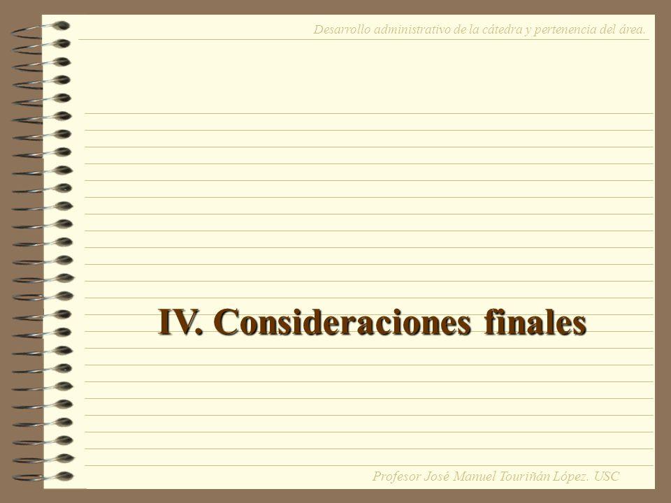 IV. Consideraciones finales Desarrollo administrativo de la cátedra y pertenencia del área.