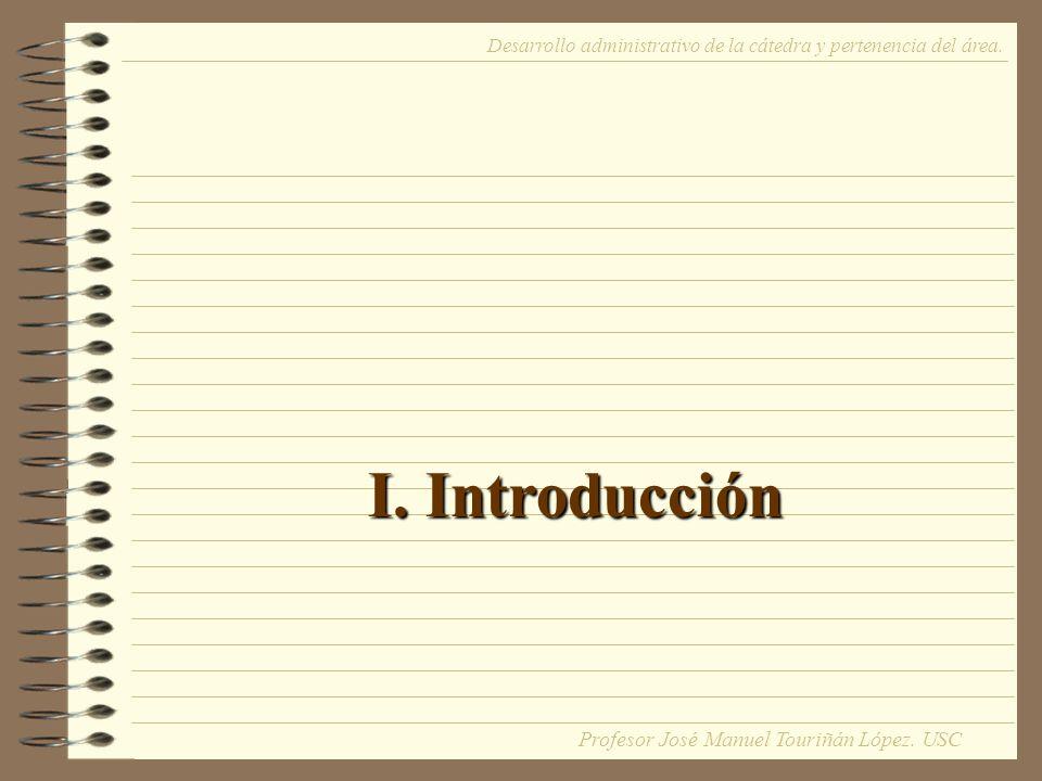 I. Introducción Desarrollo administrativo de la cátedra y pertenencia del área.