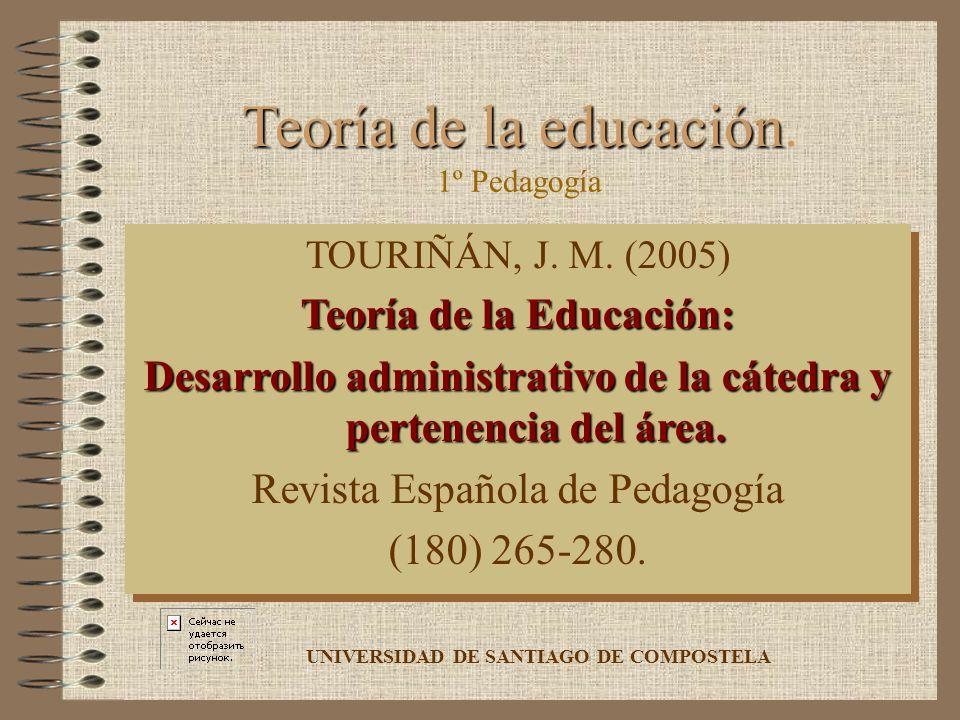 Teoría de la educación Teoría de la educación. TOURIÑÁN, J. M. (2005) Teoría de la Educación: Desarrollo administrativo de la cátedra y pertenencia de