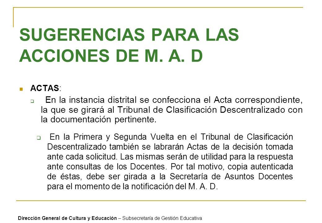 SUGERENCIAS PARA LAS ACCIONES DE M. A. D ACTAS: En la instancia distrital se confecciona el Acta correspondiente, la que se girará al Tribunal de Clas