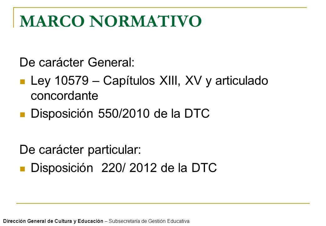 MARCO NORMATIVO De carácter General: Ley 10579 – Capítulos XIII, XV y articulado concordante Disposición 550/2010 de la DTC De carácter particular: Di