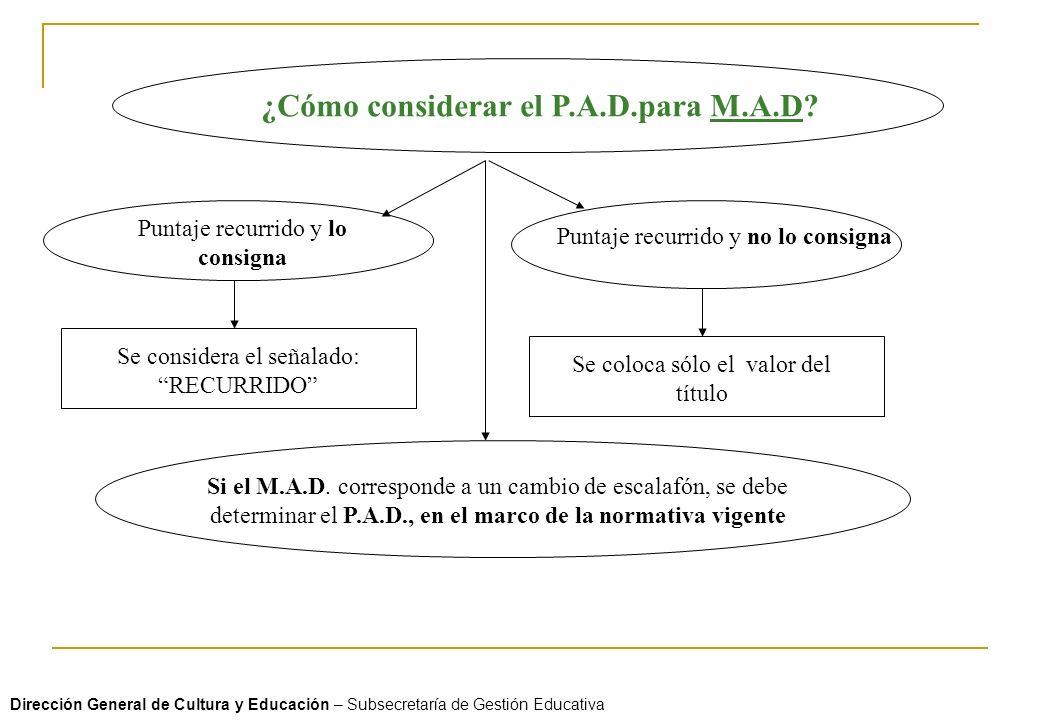 ¿Cómo considerar el P.A.D.para M.A.D? Puntaje recurrido y lo consigna Puntaje recurrido y no lo consigna Se considera el señalado: RECURRIDO Se coloca