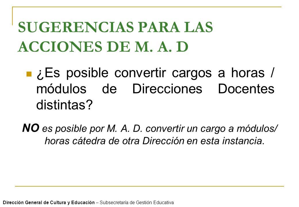 SUGERENCIAS PARA LAS ACCIONES DE M. A. D ¿Es posible convertir cargos a horas / módulos de Direcciones Docentes distintas? NO es posible por M. A. D.