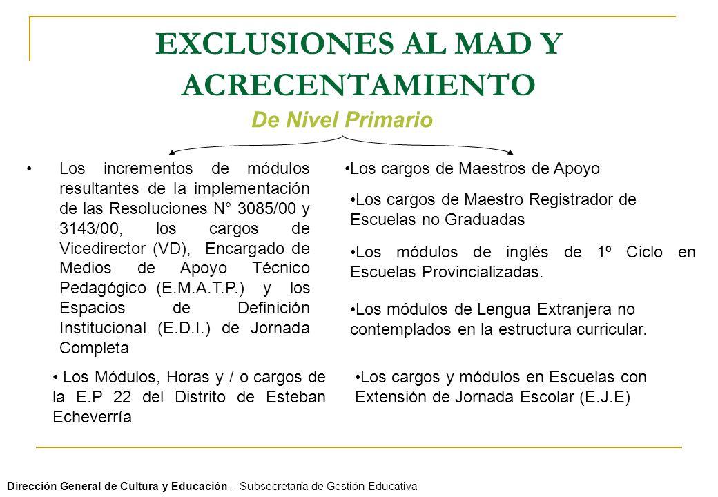 EXCLUSIONES AL MAD Y ACRECENTAMIENTO Dirección General de Cultura y Educación – Subsecretaría de Gestión Educativa De Nivel Primario Los incrementos d