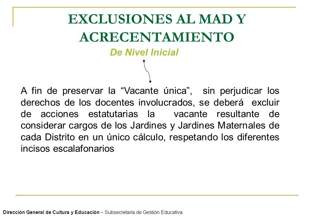 EXCLUSIONES AL MAD Y ACRECENTAMIENTO Dirección General de Cultura y Educación – Subsecretaría de Gestión Educativa De Nivel Inicial A fin de preservar