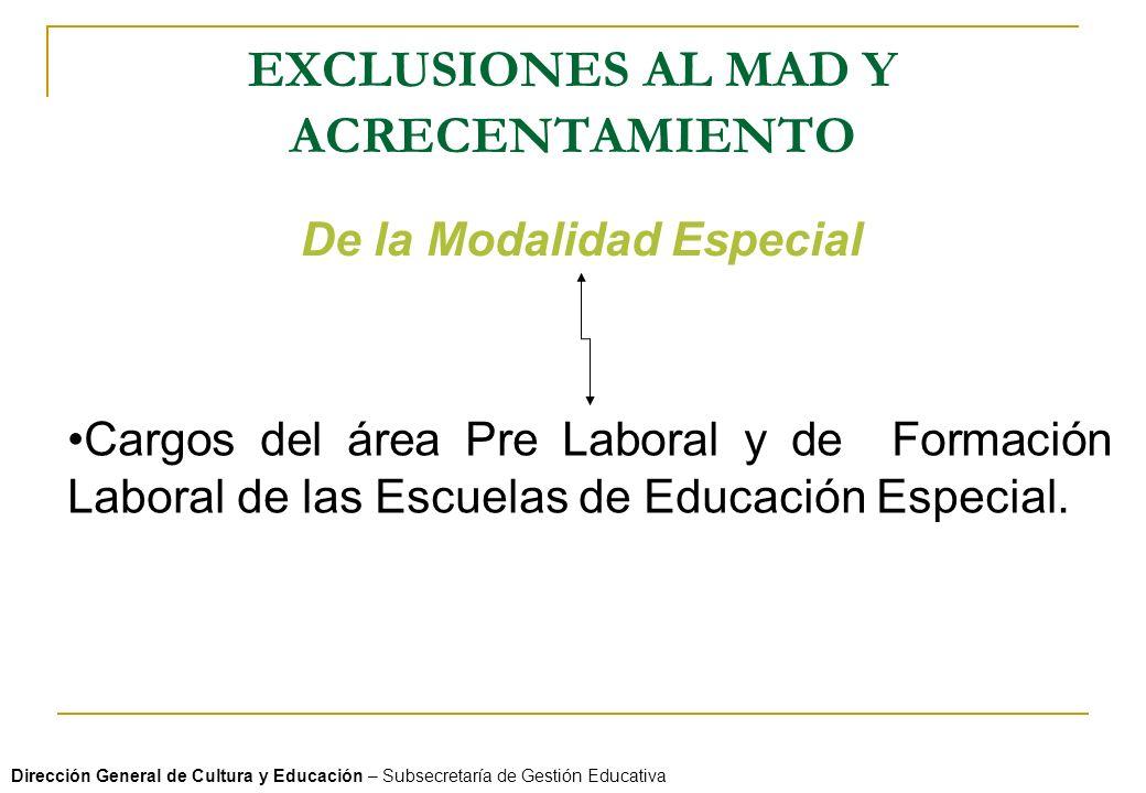 EXCLUSIONES AL MAD Y ACRECENTAMIENTO Dirección General de Cultura y Educación – Subsecretaría de Gestión Educativa De la Modalidad Especial Cargos del