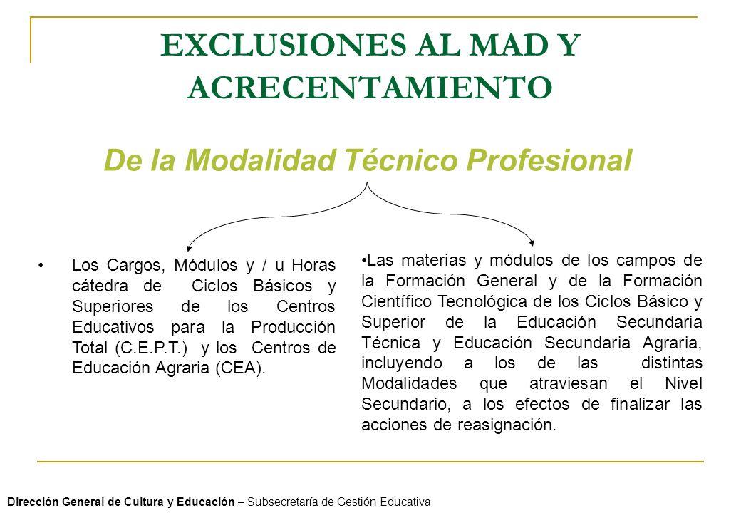 EXCLUSIONES AL MAD Y ACRECENTAMIENTO Dirección General de Cultura y Educación – Subsecretaría de Gestión Educativa De la Modalidad Técnico Profesional