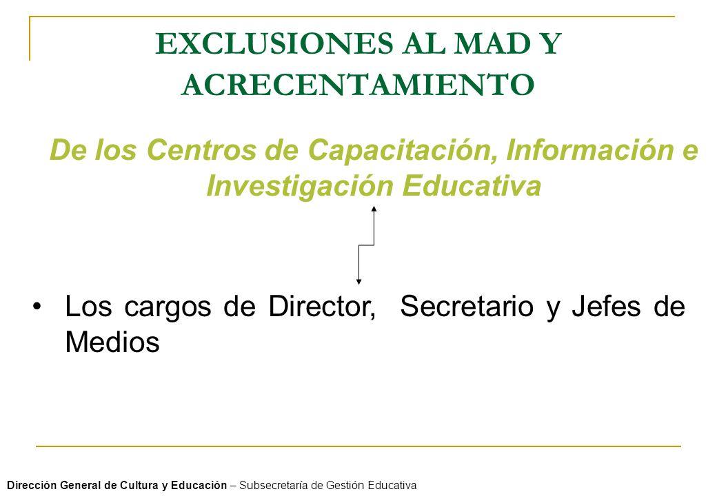 EXCLUSIONES AL MAD Y ACRECENTAMIENTO Dirección General de Cultura y Educación – Subsecretaría de Gestión Educativa De los Centros de Capacitación, Inf