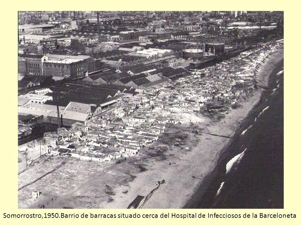 Somorrostro,1950.Barrio de barracas situado cerca del Hospital de Infecciosos de la Barceloneta
