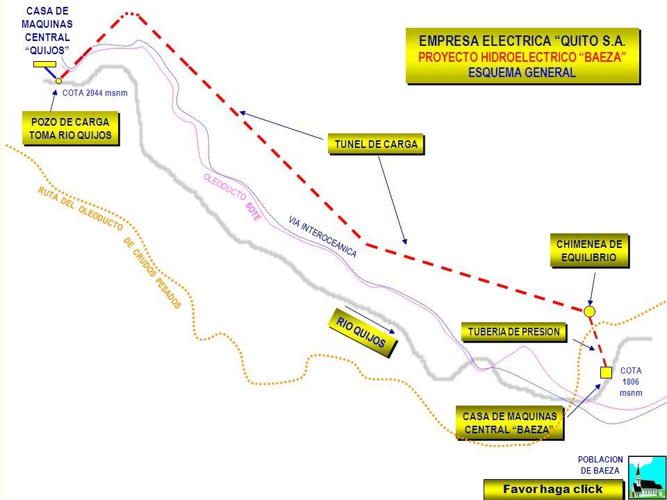 CASA DE MAQUINAS CENTRAL QUIJOS POZO DE CARGA TOMA RIO QUIJOS POZO DE CARGA TOMA RIO QUIJOS TUNEL DE CARGA RIO QUIJOS CHIMENEA DE EQUILIBRIO CHIMENEA