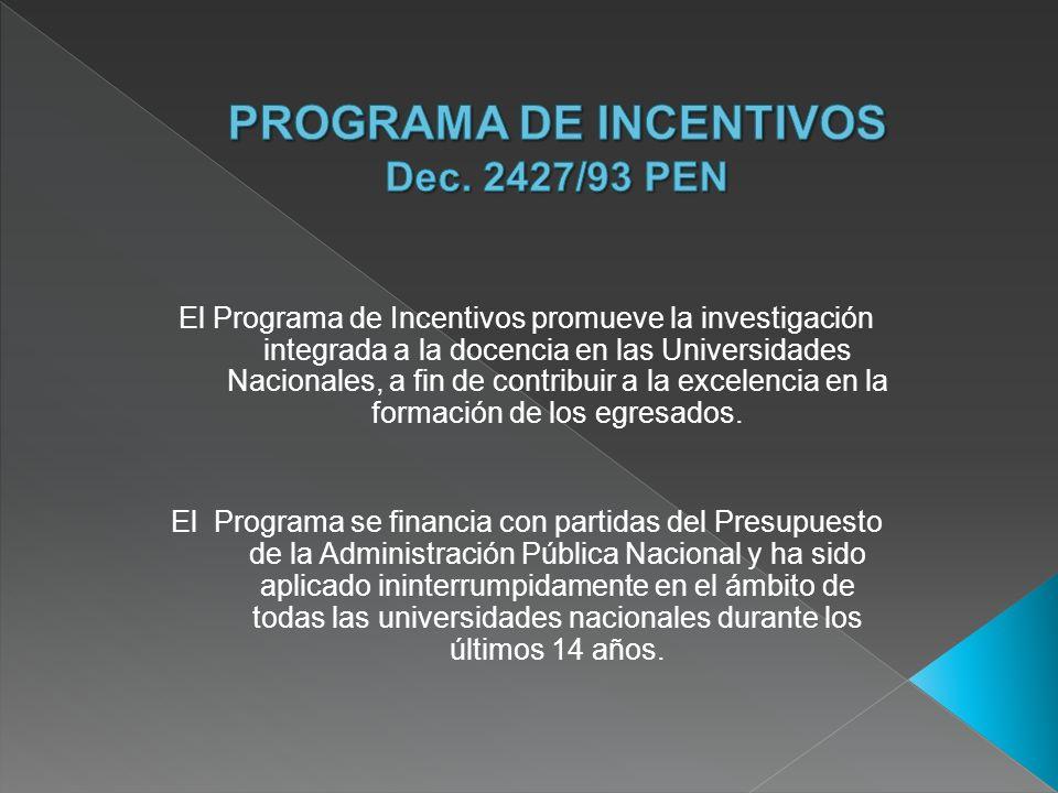 El Programa de Incentivos promueve la investigación integrada a la docencia en las Universidades Nacionales, a fin de contribuir a la excelencia en la