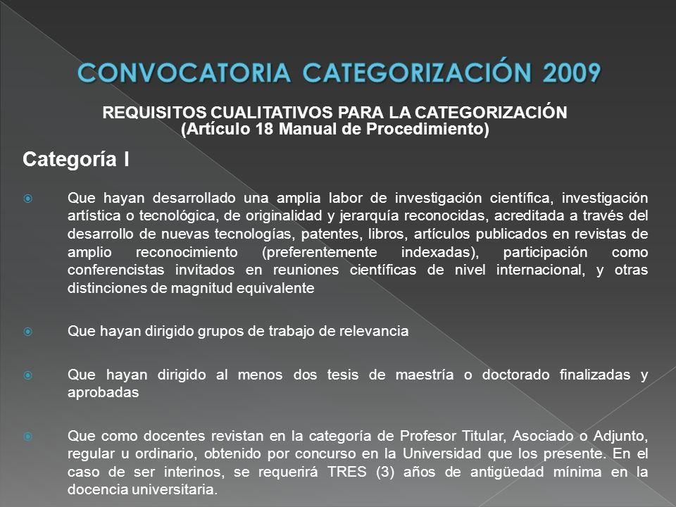 REQUISITOS CUALITATIVOS PARA LA CATEGORIZACIÓN (Artículo 18 Manual de Procedimiento) Categoría I Que hayan desarrollado una amplia labor de investigac
