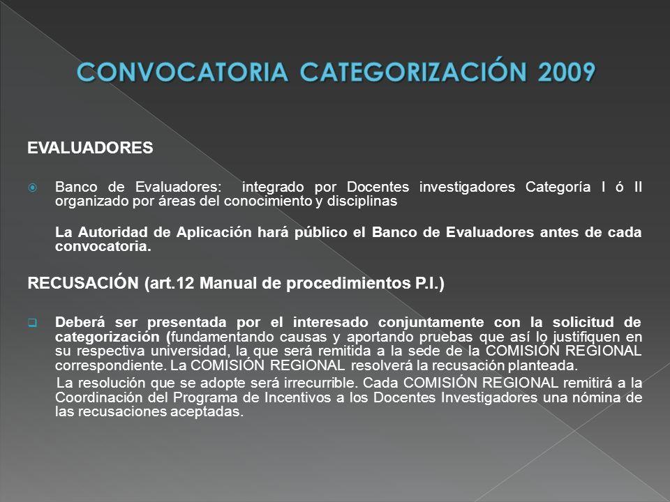 EVALUADORES Banco de Evaluadores: integrado por Docentes investigadores Categoría I ó II organizado por áreas del conocimiento y disciplinas La Autori