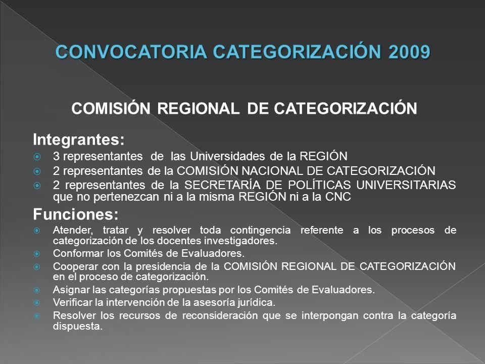 COMISIÓN REGIONAL DE CATEGORIZACIÓN Integrantes: 3 representantes de las Universidades de la REGIÓN 2 representantes de la COMISIÓN NACIONAL DE CATEGO
