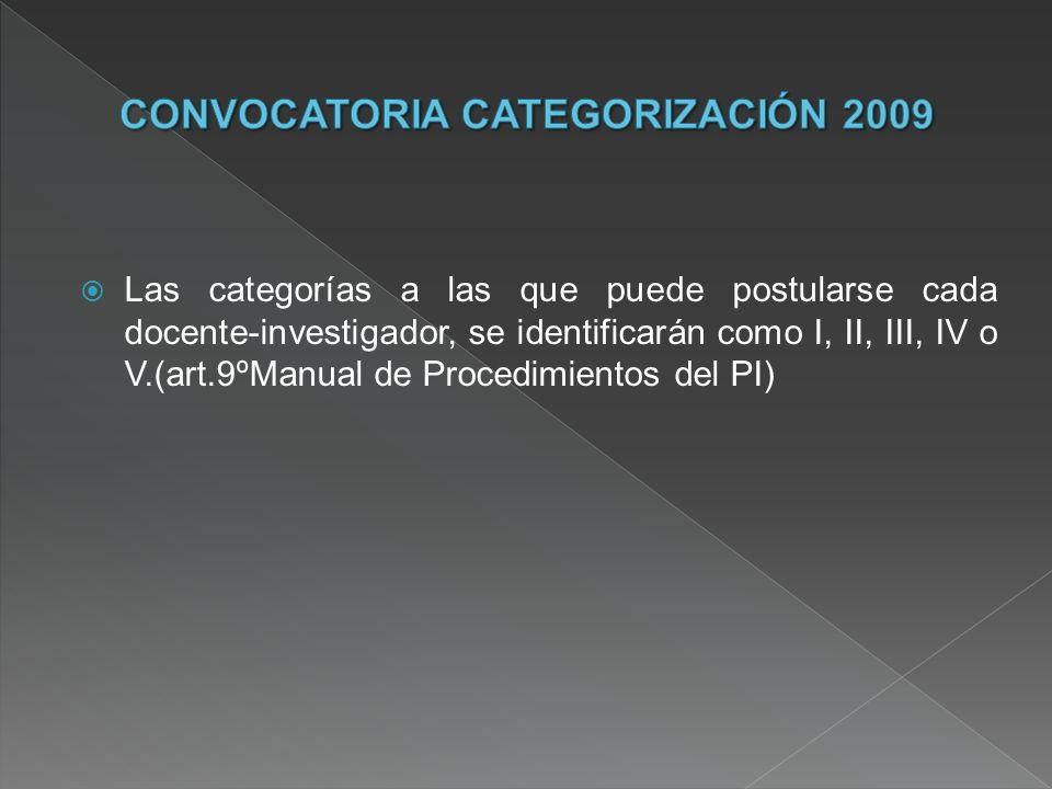Las categorías a las que puede postularse cada docente-investigador, se identificarán como I, II, III, IV o V.(art.9ºManual de Procedimientos del PI)