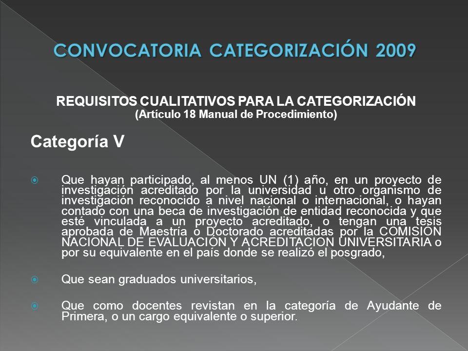 REQUISITOS CUALITATIVOS PARA LA CATEGORIZACIÓN (Artículo 18 Manual de Procedimiento) Categoría V Que hayan participado, al menos UN (1) año, en un pro