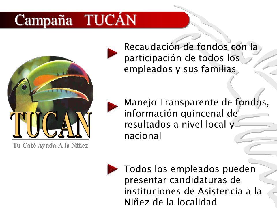Campaña TUCÁN Recaudación de fondos con la participación de todos los empleados y sus familias Manejo Transparente de fondos, información quincenal de