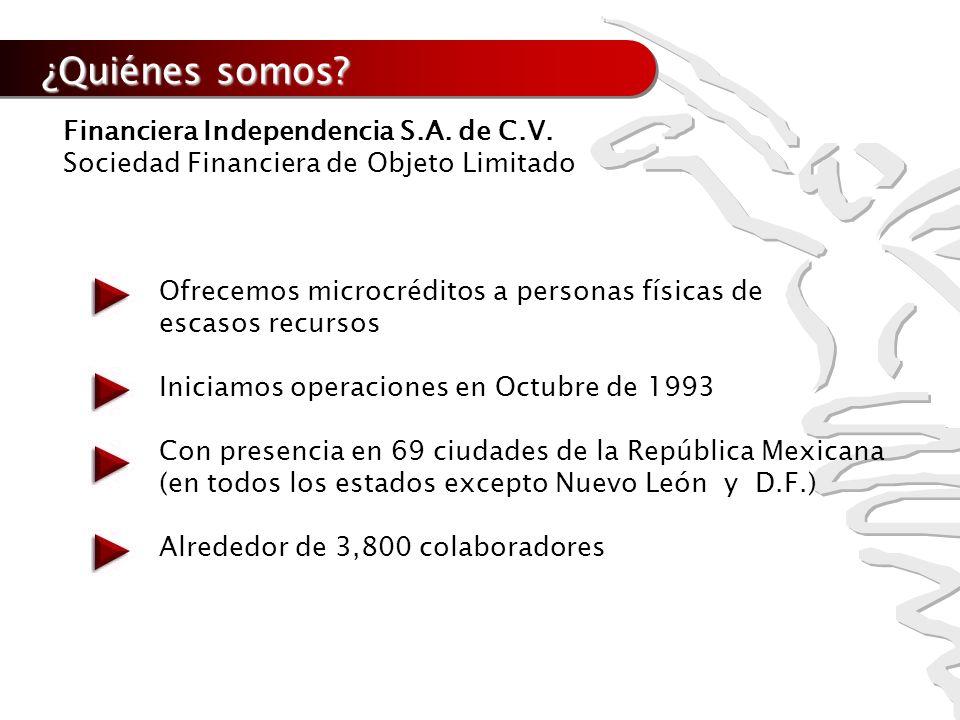 ¿Quiénes somos? Financiera Independencia S.A. de C.V. Sociedad Financiera de Objeto Limitado Ofrecemos microcréditos a personas físicas de escasos rec