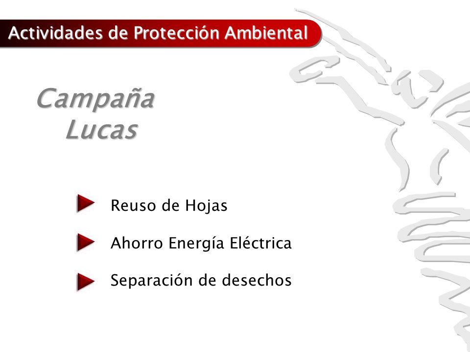 Campaña CampañaLucas Reuso de Hojas Ahorro Energía Eléctrica Separación de desechos Actividades de Protección Ambiental