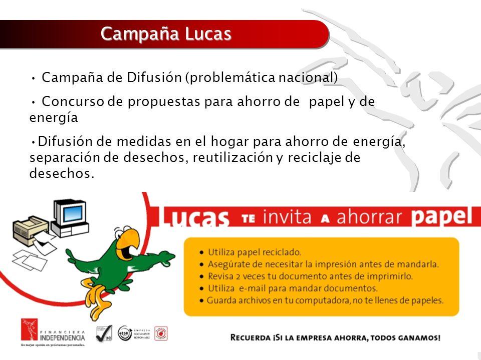 Campaña Lucas Campaña de Difusión (problemática nacional) Concurso de propuestas para ahorro de papel y de energía Difusión de medidas en el hogar par