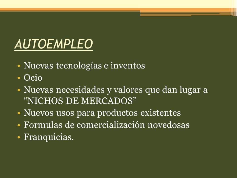 AUTOEMPLEO Nuevas tecnologías e inventos Ocio Nuevas necesidades y valores que dan lugar a NICHOS DE MERCADOS Nuevos usos para productos existentes Formulas de comercialización novedosas Franquicias.