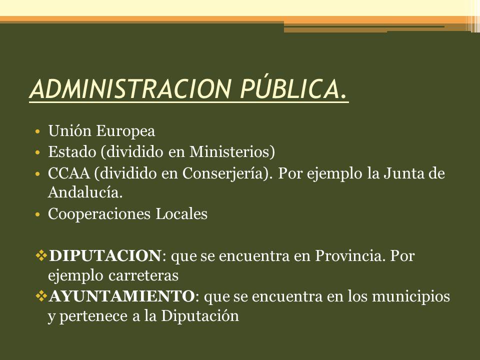 ADMINISTRACION PÚBLICA. Unión Europea Estado (dividido en Ministerios) CCAA (dividido en Conserjería). Por ejemplo la Junta de Andalucía. Cooperacione