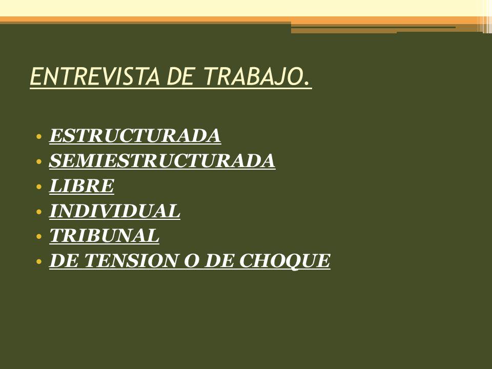 ENTREVISTA DE TRABAJO. ESTRUCTURADA SEMIESTRUCTURADA LIBRE INDIVIDUAL TRIBUNAL DE TENSION O DE CHOQUE