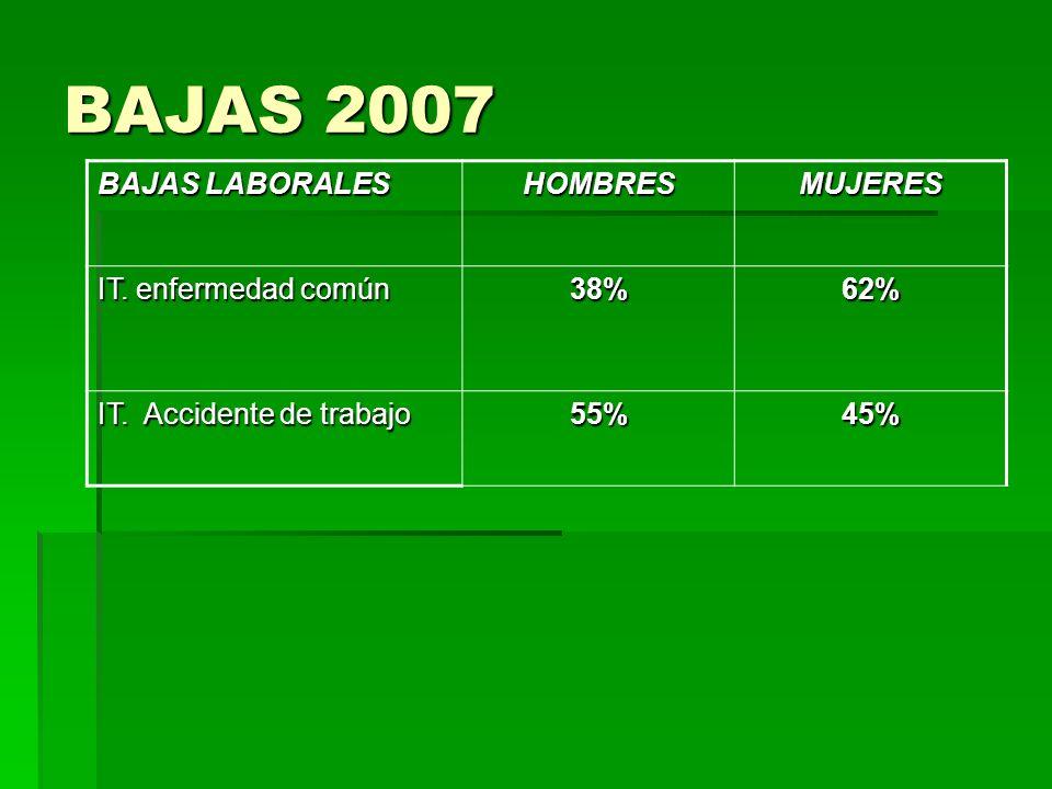 BAJAS 2007 BAJAS LABORALES HOMBRESMUJERES IT.enfermedad común 38%62% IT.