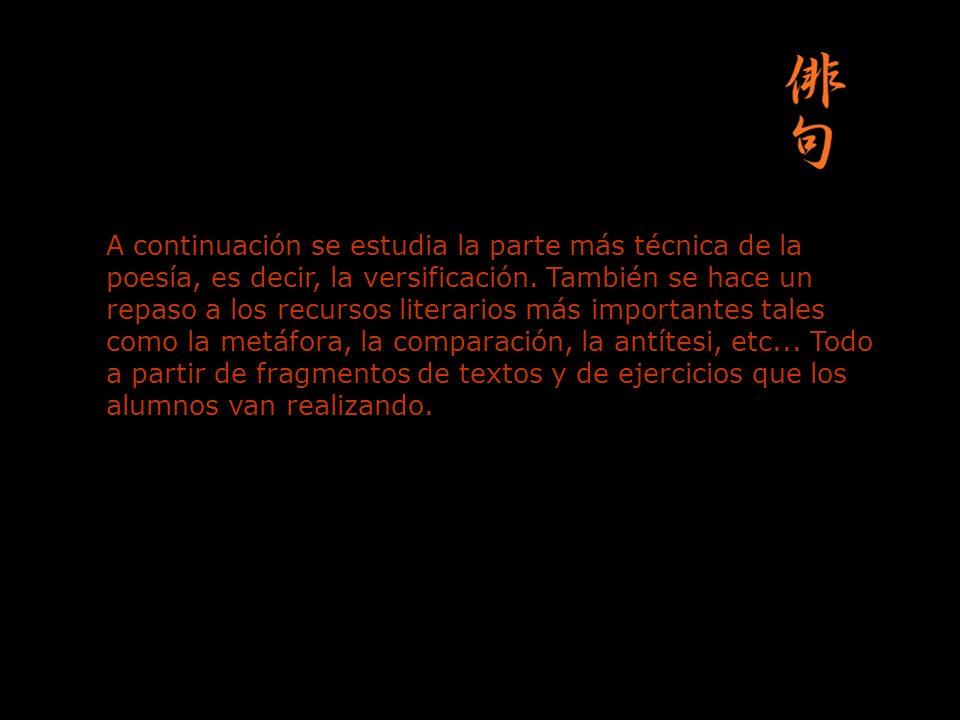 Después, se entra en la parte temática de la poesía: el hombre y el entorno, sus sentimientos, la sociedad, el paso del tiempo...