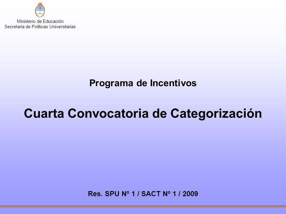 Ministerio de Educación Secretaría de Políticas Universitarias Programa de Incentivos Cuarta Convocatoria de Categorización Res. SPU Nº 1 / SACT Nº 1