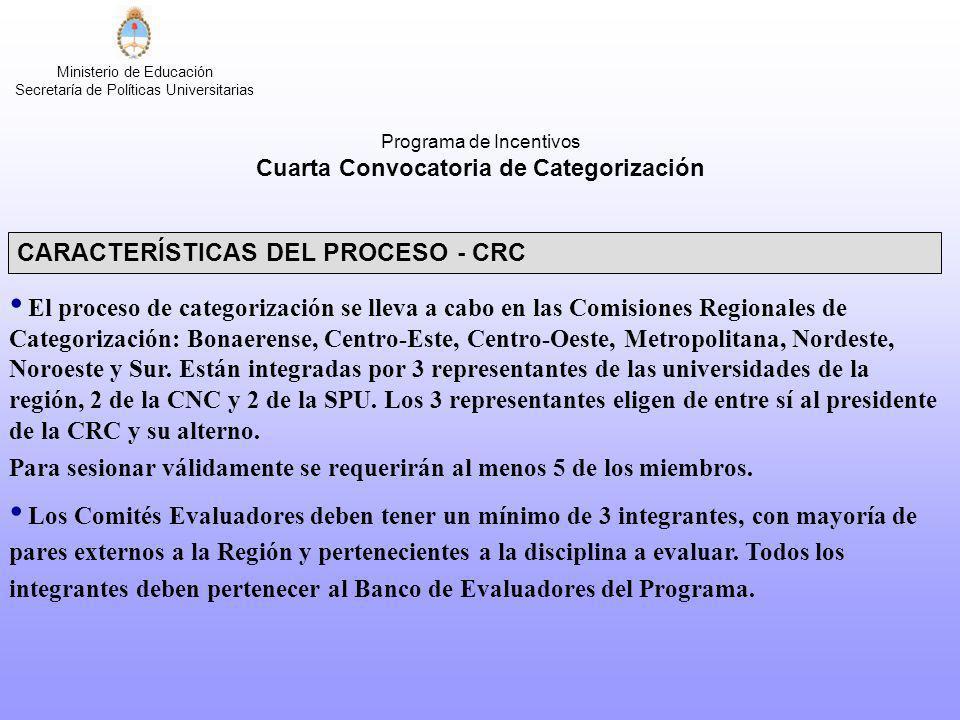 Ministerio de Educación Secretaría de Políticas Universitarias CARACTERÍSTICAS DEL PROCESO - CRC El proceso de categorización se lleva a cabo en las C