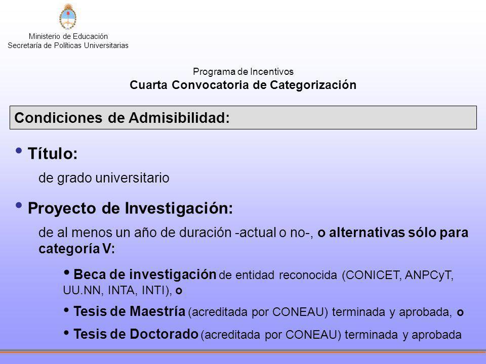 Ministerio de Educación Secretaría de Políticas Universitarias INDICES PARA LA ASIGNACIÓN DE CATEGORÍAS I.1100 ptos.