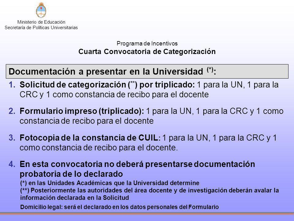 Ministerio de Educación Secretaría de Políticas Universitarias Programa de Incentivos Cuarta Convocatoria de Categorización Documentación a presentar
