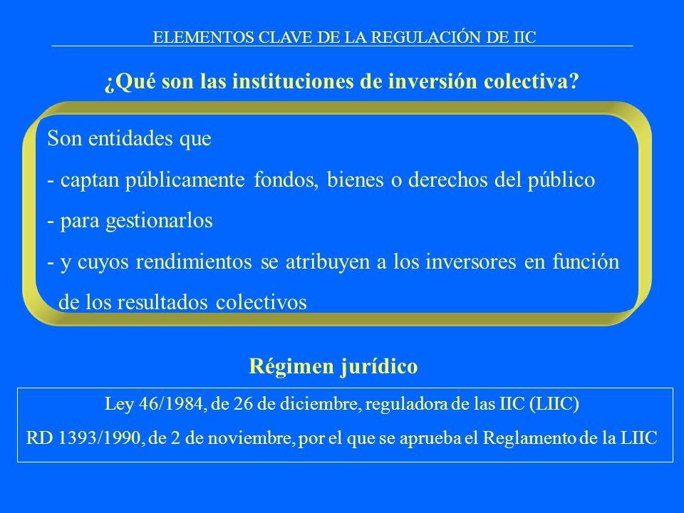 ¿Qué son las instituciones de inversión colectiva? ELEMENTOS CLAVE DE LA REGULACIÓN DE IIC Son entidades que - captan públicamente fondos, bienes o de