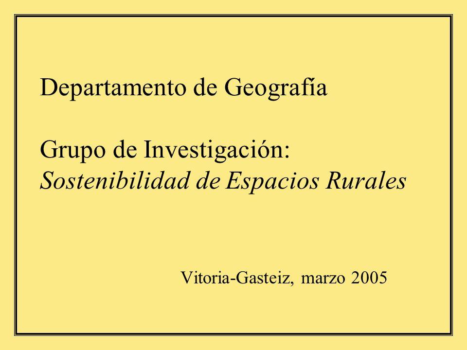 Departamento de Geografía Grupo de Investigación: Sostenibilidad de Espacios Rurales Vitoria-Gasteiz, marzo 2005