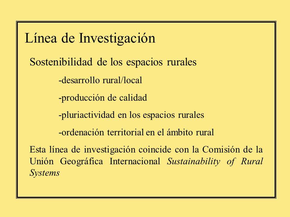 Línea de Investigación Sostenibilidad de los espacios rurales -desarrollo rural/local -producción de calidad -pluriactividad en los espacios rurales -ordenación territorial en el ámbito rural Esta línea de investigación coincide con la Comisión de la Unión Geográfica Internacional Sustainability of Rural Systems