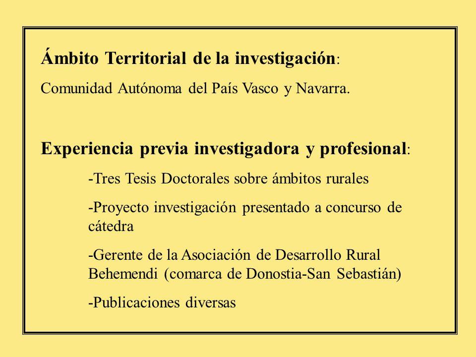 Participación en Proyectos financiados en Convocatorias públicas Título del Proyecto: Estrategias de cooperación y desarrollo territorial sostenible en el País Vasco y Navarra (BSO2002- 04233-C10-04) Entidad financiadora: Ministerio de Ciencia y Tecnologóa Investigador responsable: Eugenio Ruiz Urrestarazu Duración del proyecto: 2002-2005.