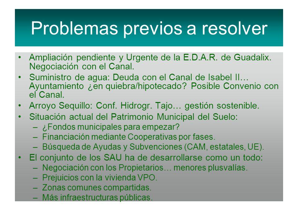 Problemas previos a resolver Ampliación pendiente y Urgente de la E.D.A.R. de Guadalix. Negociación con el Canal. Suministro de agua: Deuda con el Can
