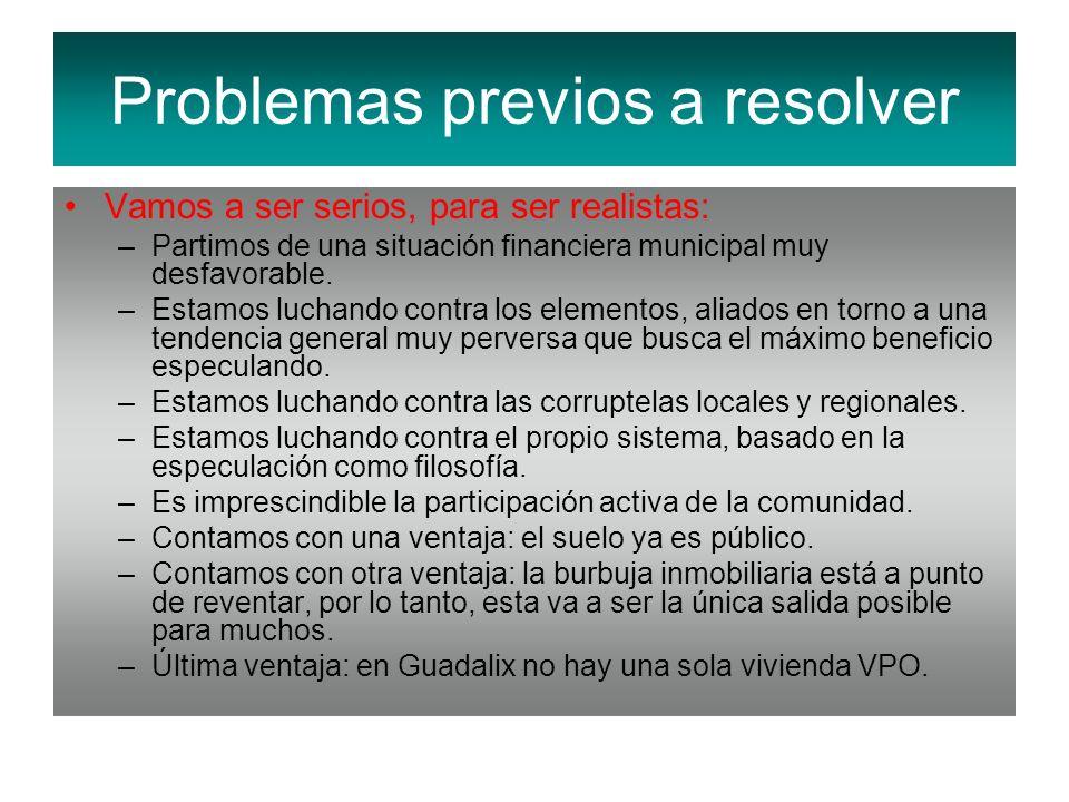 Vamos a ser serios, para ser realistas: –Partimos de una situación financiera municipal muy desfavorable. –Estamos luchando contra los elementos, alia