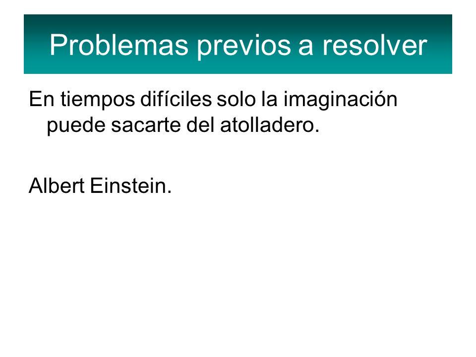 En tiempos difíciles solo la imaginación puede sacarte del atolladero. Albert Einstein. Problemas previos a resolver