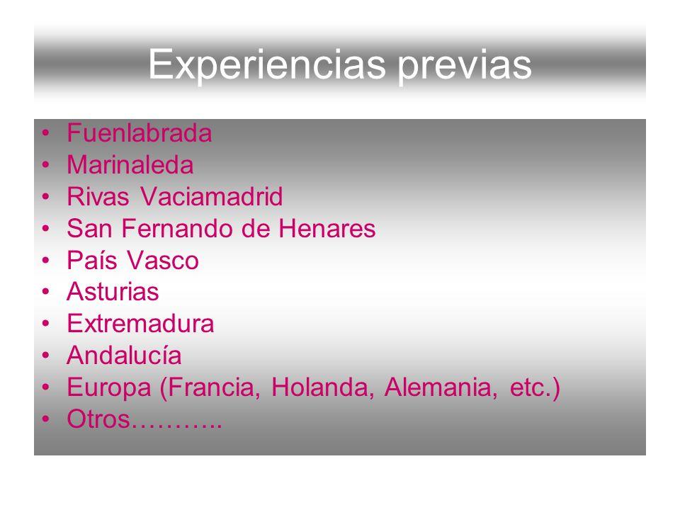 Experiencias previas Fuenlabrada Marinaleda Rivas Vaciamadrid San Fernando de Henares País Vasco Asturias Extremadura Andalucía Europa (Francia, Holan