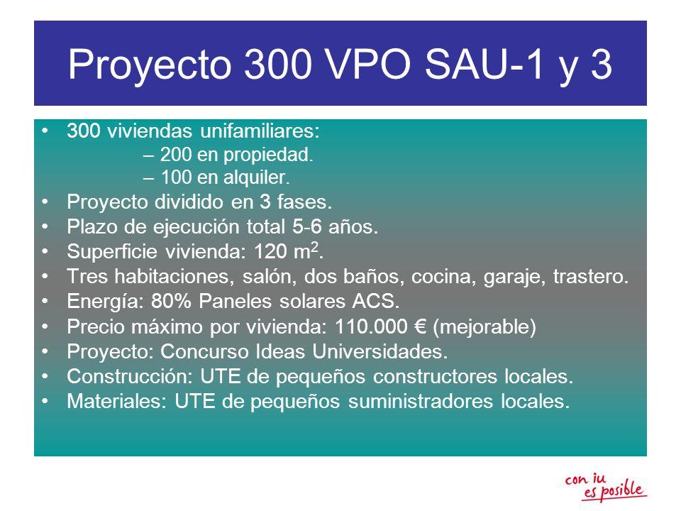 Proyecto 300 VPO SAU-1 y 3 300 viviendas unifamiliares: –200 en propiedad. –100 en alquiler. Proyecto dividido en 3 fases. Plazo de ejecución total 5-