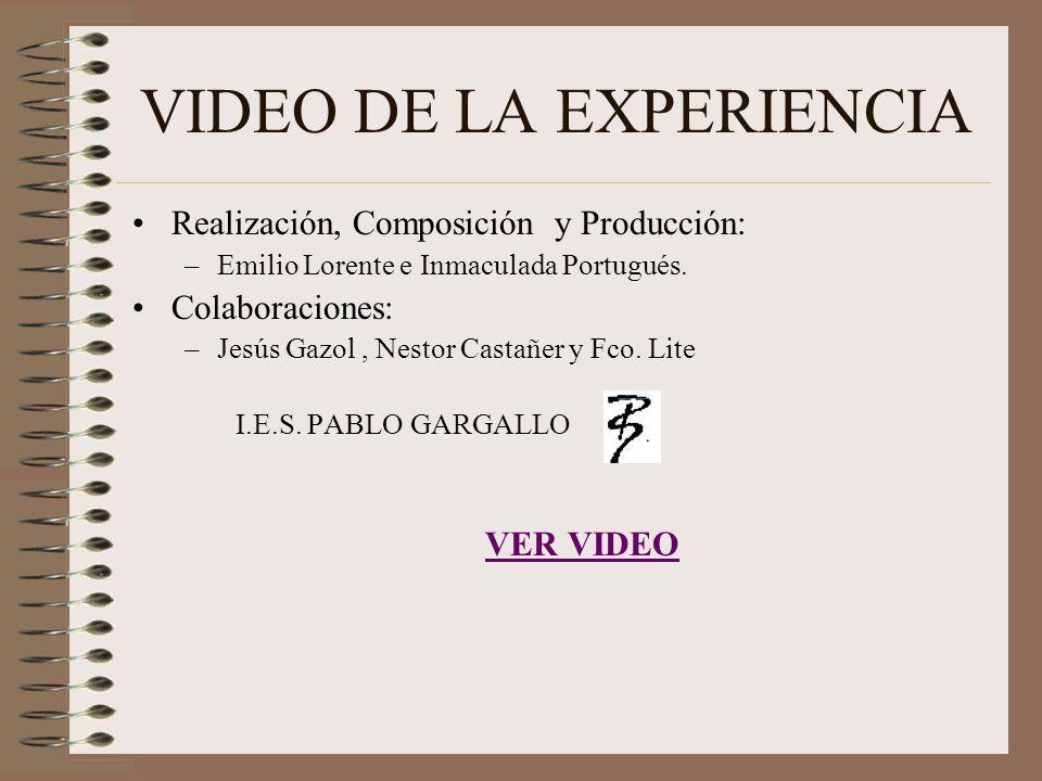 VIDEO DE LA EXPERIENCIA Realización, Composición y Producción: –Emilio Lorente e Inmaculada Portugués. Colaboraciones: –Jesús Gazol, Nestor Castañer y