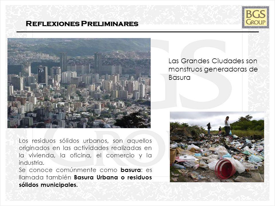 2 Reflexiones Preliminares Las Grandes Ciudades son monstruos generadoras de Basura Los residuos sólidos urbanos, son aquellos originados en las activ