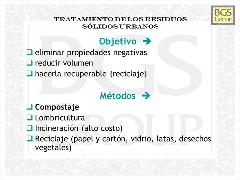 6 TRATAMIENTO DE LOS RESIDUOS Sólidos Urbanos Objetivo eliminar propiedades negativas reducir volumen hacerla recuperable (reciclaje) Métodos Composta