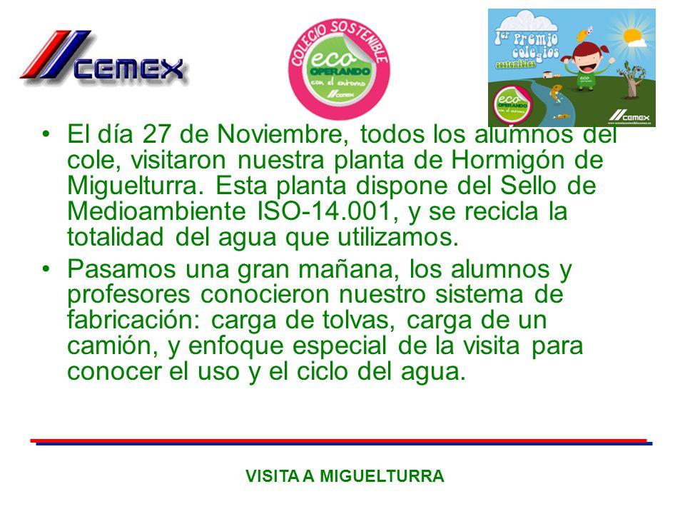 El día 27 de Noviembre, todos los alumnos del cole, visitaron nuestra planta de Hormigón de Miguelturra. Esta planta dispone del Sello de Medioambient