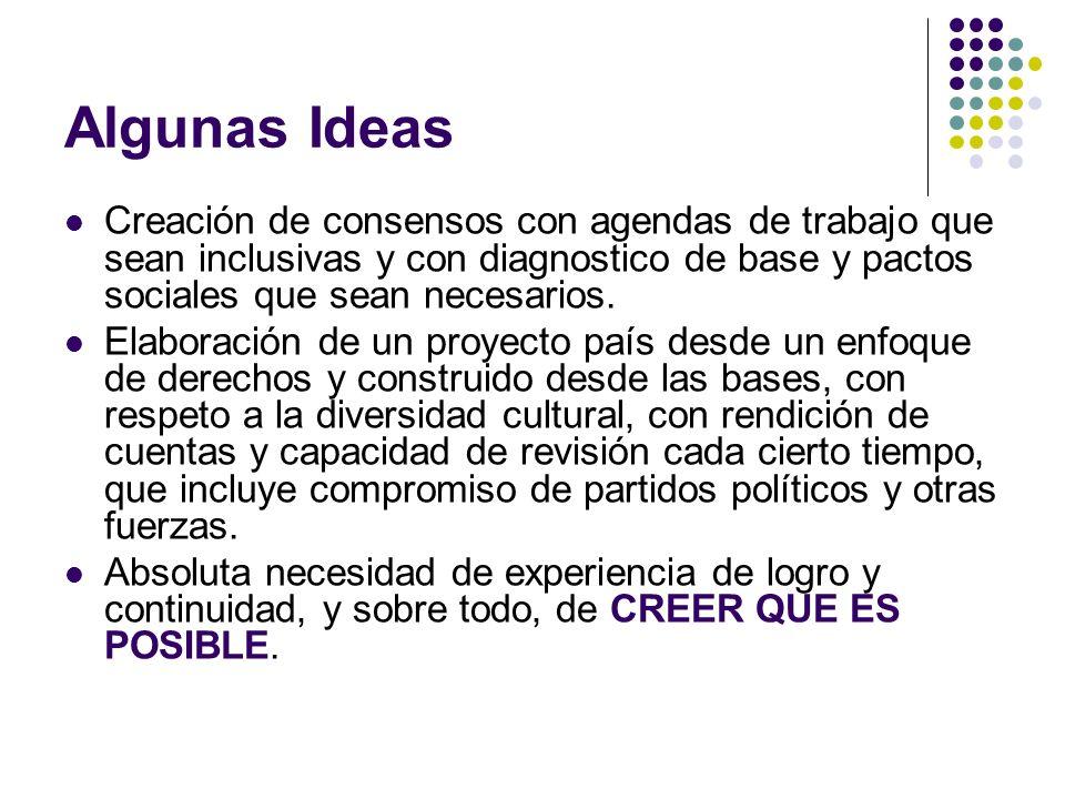 Algunas Ideas Creación de consensos con agendas de trabajo que sean inclusivas y con diagnostico de base y pactos sociales que sean necesarios. Elabor