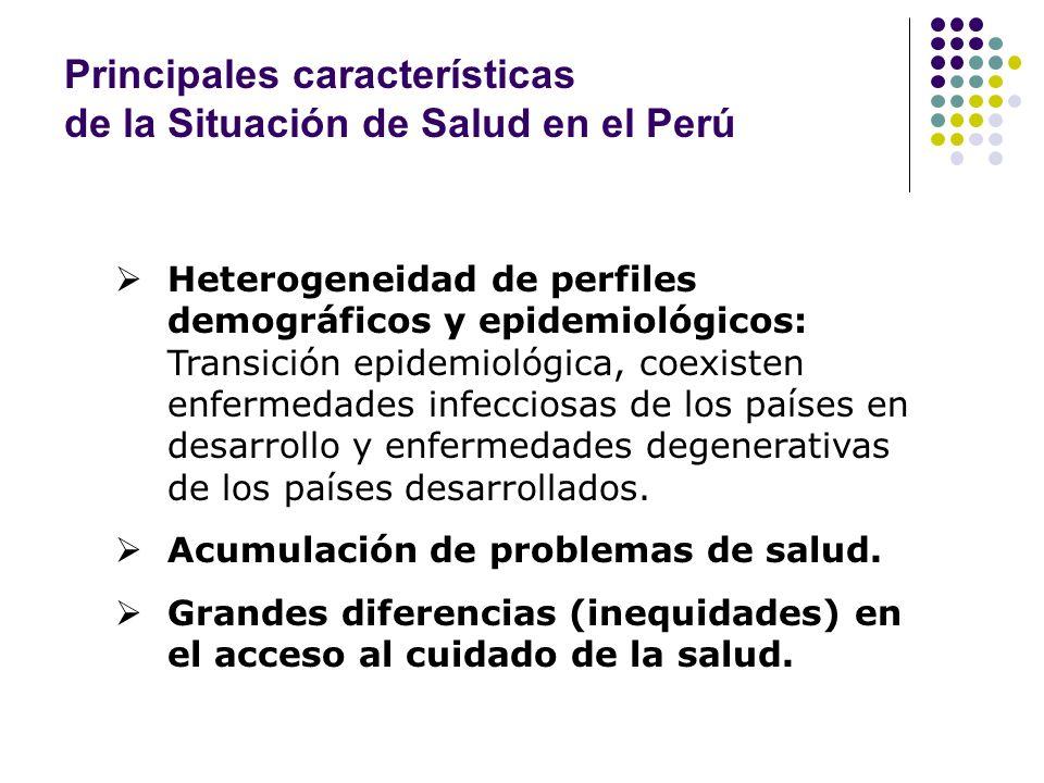 Situación de Salud en el Perú Infecciosas Crónicas y neoplasias Estrato I (más pobre) Estrato IIEstrato IIIEstrato IVEstrato V Accidentes Emergentes y reemergentes Acumulación en las dos últimas décadas Pre y post transición al mismo tiempo Grandes ciudades Provincias con menos de 10 mil hab.