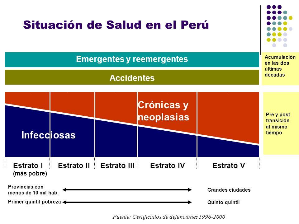 Situación de Salud en el Perú Infecciosas Crónicas y neoplasias Estrato I (más pobre) Estrato IIEstrato IIIEstrato IVEstrato V Accidentes Emergentes y